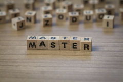 Master written in wooden cubes Stock Images