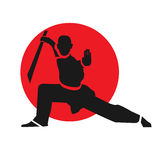 Master. Of wushu with sword. LOgo design template. Vector illustration Stock Images