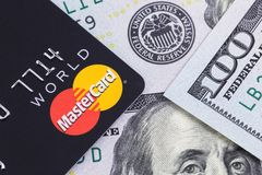 MasterCard And One Hundred Dollars Banknotes. Ekaterinburg, Russ Royalty Free Stock Image