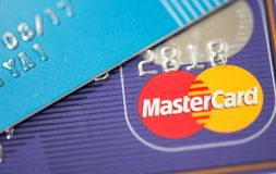 Mastercard Credit Card Sign close up. Mastercard is one of the biggest credit card companies in the world Stock Photo