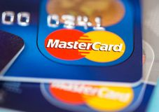 MasterCard credit cards stack Royalty Free Stock Photography