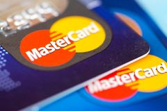 MasterCard credit cards stack Stock Photos