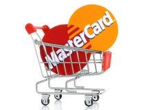 Mastercard-embleem op papier wordt en in boodschappenwagentje wordt geplaatst gedrukt die dat Stock Afbeelding