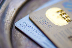 MasterCard Gold, Platinum credit card Stock Photo