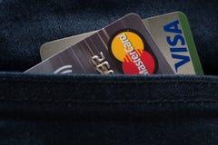 MasterCard-, Maestro- und Visumskreditkarten Stockbild