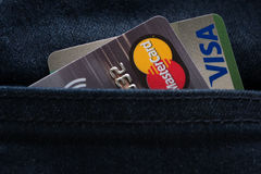 Mastercard, Maestro and Visa credit cards Stock Image