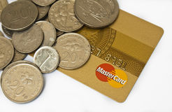 Mastercard and money. Credit cards for ease of transaction Royalty Free Stock Photos