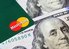 Mastercard on money Stock Photography