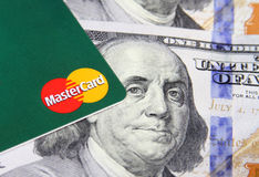 Mastercard on money Royalty Free Stock Photo