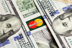 Mastercard with money Royalty Free Stock Photos