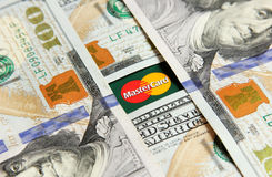 Mastercard with money Stock Photo