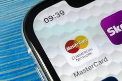 MasterCard podaniowa ikona na Jabłczany X iPhone parawanowym zakończeniu Master Card ikona MasterCard online zastosowanie Ogólnos Zdjęcie Stock