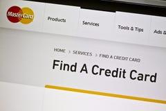 Mastercard website Royalty Free Stock Photos
