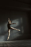 Masterful ballet dancer showing her abilities in the air stock photo