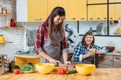 Mastering cooking skills home chef family leisure. Mastering cooking skills. Young home chef. Family leisure. Mother watching daughter chopping vegetables for stock photography