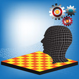 Mastermind. Abstract colorful illustration with human head standing on a chessboard with colorful gears above his head. Mastermind concept Royalty Free Stock Photos