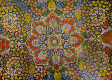 Masterpiece design of oriental persian carpet with garden of colorful flowers Stock Images