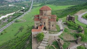 The masterpiece of Early Christian Orthodox architecture Jvari Monastery. In Georgia. Aerial view stock video