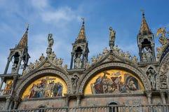 San Marco church dome facade. Masterpiece mosaic white and colorful facade with golden paint of Basilica di San Marco Saint Mark`s Basilica  in Venice, Italy Stock Photography