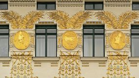 Detail of an Art Nouveau house in Vienna in Austria. Masterpiece of Otto Wagner, the famous secessionist architect. Located in Naschmarkt near the Majolika house Stock Photography