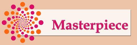 Masterpiece Pink Orange White Horizontal. Masterpiece text written over pink orange background Stock Images