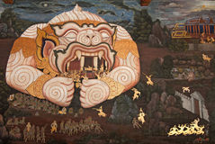 Masterpiece Ramayana painting in temple of emerald Stock Photos