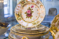 Masterpiece tableware with painted rose. closeup of plate Royalty Free Stock Photography