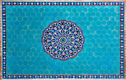 Masterpiece tiled wall with patterns of Middle East Stock Photo