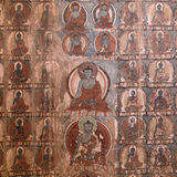 Masterpiece of traditional painting art about Buddha story on the temple wall in Tiksey Monastery. Ladakh, India Royalty Free Stock Photo