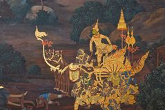 Masterpiece of traditional Thai style painting art Royalty Free Stock Image