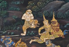Masterpiece of traditional Thai style painting art Stock Images