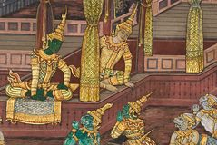 Masterpiece of traditional Thai style painting art Royalty Free Stock Photo