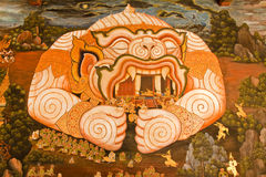 Masterpiece of traditional Thai style painting art. On temple wall at Watphrakaew, Bangkok,Thailand royalty free stock photo