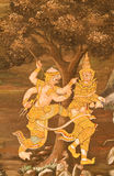 Masterpiece of traditional Thai style painting art. On temple wall at Watphrakaew, Bangkok,Thailand stock image