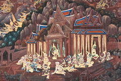 Masterpiece of traditional Thai style painting art Stock Photo