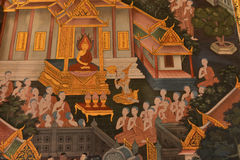Masterpiece of traditional Thai style painting art old about Bud. Dha story royalty free stock photo