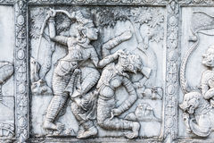 Masterpiece of traditional Thai style stucco art old about Ramayana story on temple decorative wall at Wat Panan Choeng temple, A. Yutthaya, Thailand. World stock image