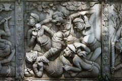 Masterpiece of traditional Thai style stucco art old about Ramay Royalty Free Stock Photo