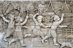 Masterpiece of traditional Thai style stucco art old Stock Photography