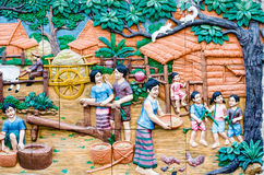 Masterpiece of traditional Thai style stucco art old. On temple decorative wall at Wat Dan temple, Bangkok, Thailand Stock Image