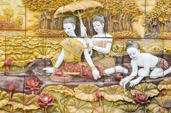 Masterpiece of traditional Thai style stucco art old Royalty Free Stock Photos
