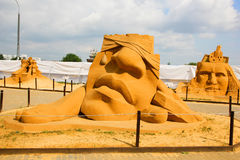 "Masterpieces of Italian culture. KOLOMENSKOYE, MOSCOW, RUSSIA-JULY 10, 2011:""Masterpieces of Italian culture"" Exhibition of sand sculptures.  ""Debris"" Royalty Free Stock Image"