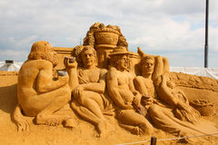 "Masterpieces of Italian culture. KOLOMENSKOYE,MOSCOW,RUSSIA-JULY 10, 2011:""Masterpieces of Italian culture"" Exhibition of sand sculptures.  Wine Festival Royalty Free Stock Photos"