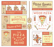 Masters and lovers of pizza colored Royalty Free Stock Photography