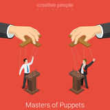Masters of Puppets politics election flat 3d vector isometric Stock Images