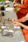 Masters taught to make dolls. Doll is a model of a human being, often used as a toy for children. Dolls have traditionally been used in magic and religious Stock Photo