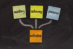 Mastery, autonomy, purpose - motivation. Three elements of true motivation - mastery, autonomy, purpose - colorful sticky notes on blackboard Royalty Free Stock Images