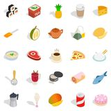 Mastery of cooking icons set, isometric style. Mastery of cooking icons set. Isometric set of 25 mastery of cooking vector icons for web isolated on white Stock Photography