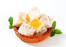 Mastic-flavored jelly cubes (Greek Turkish delight) Royalty Free Stock Images