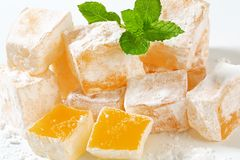 Mastic-flavored jelly cubes (Greek Turkish delight) Royalty Free Stock Photo